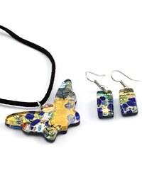 Murano Sada náhrdelník a náušnice - skleněný šperk - zlatá, modrá - Motýl