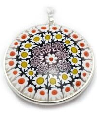 Murano Přívěsek skleněný - stříbro 925 - bílá, žlutá, červená - Millefiori 36