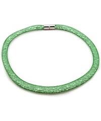 Murano Náhrdelník dutinka s krystalky - zelená - Tubo Conteria