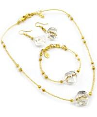 Sada náhrdelník, náramek, náušnice skleněné korále- bílá krystal, zlatá - Murano