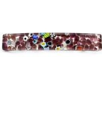 Murano Spona do vlasů skleněná - fialová, stříbrná - Piastra