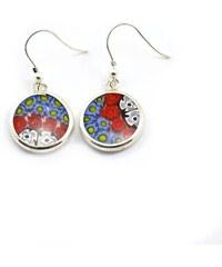Murano Náušnice skleněná - stříbro 925 - modrá, červená, bílá - Millefiori 14