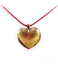 Murano Náhrdelník skleněné srdce - kombinace barev - červená, zlatá - Passione