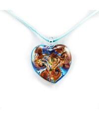 Murano Náhrdelník skleněné srdce - kombinace barev - modrá - Passione 2