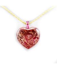 Murano Náhrdelník skleněné srdce - kombinace barev - červená - Passione