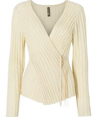 BODYFLIRT boutique Pull blanc manches longues Près du corps femme - bonprix