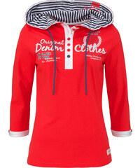 John Baner JEANSWEAR T-shirt à capuche, manches 3/4 rouge femme - bonprix