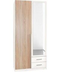 wimex Kleiderschrank weiß/struktureichefarben hell