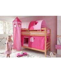 Kinder Einzel-/Etagenbett Set 4-tlg. RELITA pink, Herz