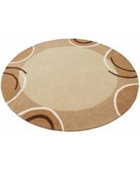 Teppich rund exklusiv Bellary handgearbeiteter Konturenschnitt handgetuftet reine Schurwolle THEKO EXKLUSIV braun 10 (Ø 190 cm)
