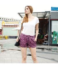 Lesara Gemusterte Shorts Violett - S