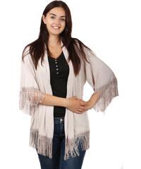 TopMode Volný svetřík, kardigan bez zapínání s třásněmi béžová