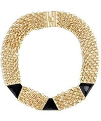 Guess Náhrdelník Black and Gold Tone Pyramid Chain Necklace