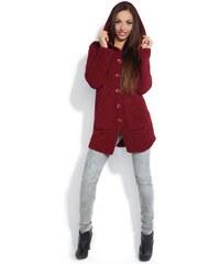 Dámský pletený kabátek Fobya F153 bordó