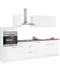 Küchenzeile mit E-Geräten Basel Breite 280 cm Baur weiß