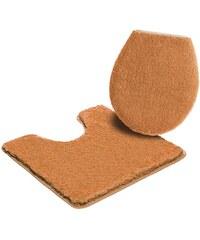 Badematte Stand-WC-Set Sanremo Höhe 30 mm Microfaser rutschhemmender Rücken MY HOME orange 9 (2-tlg Stand-WC-Set)