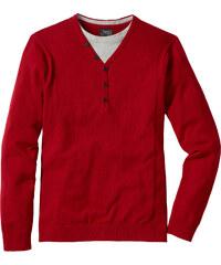 bpc bonprix collection Pull style 2en1 Regular Fit rouge manches longues homme - bonprix