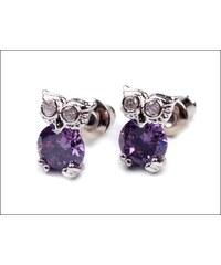 Drobné fialové náušnice s kamínky Sovičky