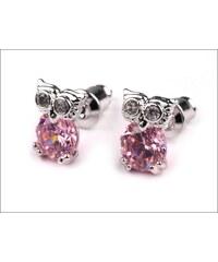 Drobné růžové náušnice s kamínky Sovičky