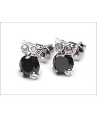 Drobné černé náušnice s kamínky Sovičky