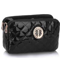 LS fashion LS dámská lakovaná crossbody kabelka LS00388 černá
