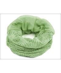 Kruhový zelenkavý šátek s háčkovanou aplikací