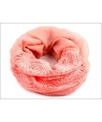 Kruhový lososový šátek s háčkovanou aplikací