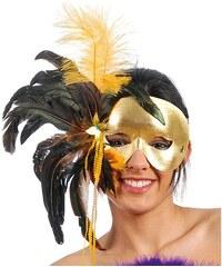 Fiestas Guirca Maska péřová zlatá