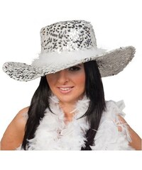 Dámský klobouk s flitry - bílá
