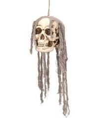 """Dekorace - závěsná lebka s """"vlasy"""""""
