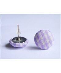 Kostkované náušnice látkové lila buttonky