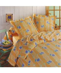 Home Linen Parure drap plat en 100% coton - Carla jaune 240x300 cm + 2 taies d'oreiller 65x65 cm