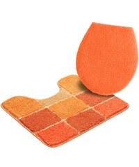 Badematte Stand WC-Set Pia Höhe 20 mm Microfaser rutschhemmender Rücken MY HOME orange 9 (2-tlg Stand-WC-Set)