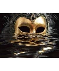 PREMIUM COLLECTION BY HOME AFFAIRE Premium collection by Leinwandbild hfng: Venezianische Maske mit Blattgold auf dem Wasser 80/60 cm goldfarben