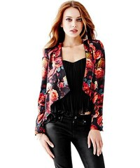 Guess Sako Long-Sleeve Spanish Rose Draped Blazer
