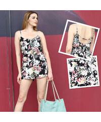 Lesara Kurzer Jumpsuit im floralen Design - M