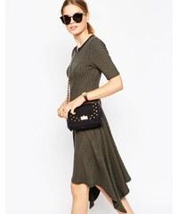 ASOS - Meliertes mittellanges Rib-Kleid mit Reißverschluss vorne - Grün