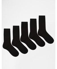 Urban Eccentrics - Lot de 5 paires de chaussettes - Noir - Noir