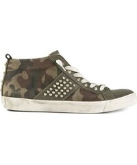 Leather Crown Camouflage Print Trainer
