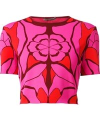 Alexander Mcqueen Flower Collage Jacquard Cropped Top