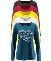 bpc bonprix collection Lot de 5 T-shirts col rond à manches longues pétrole femme - bonprix