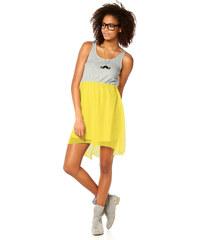 006 Dámské letní šaty žluté/šedé