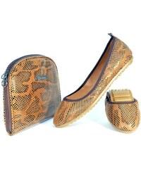 Rollbab Dámské balerínky s taškou CL209_Brown