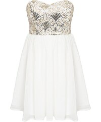 LM moda Společenské šaty bílé se zlatými flitry