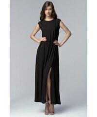 Dlouhé šaty s rozparkem Nife S61 černé