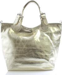 Zlatá kožená kabelka ItalY 15251 zlatá