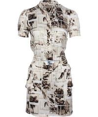 Galliano Dámské šaty, 4R64C672796_off white mit Print S900