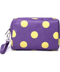 Kosmetická taštička Nucelle fialová s žlutými puntíky