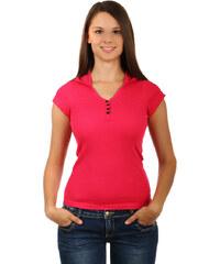 TopMode Jednoduché tričko s kapucí růžová