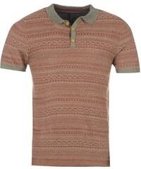 Firetrap AOP Knitted Polo Shirt pánské Burgundy Aztec